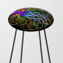Octopus Psychedelic Luminescence Counter Stool