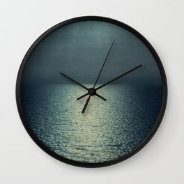 sea - emerald sunset Wall Clock
