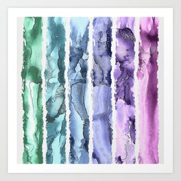 Colorful Painted Stripes Art Print