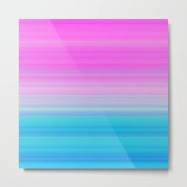 Pink & Aquamarine Blue Stripes Metal Print