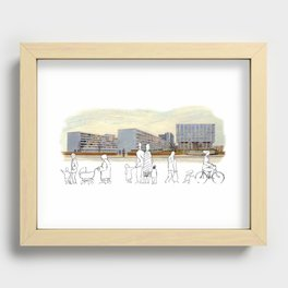 Busy Day at St. Thomas' Hospital, London Recessed Framed Print
