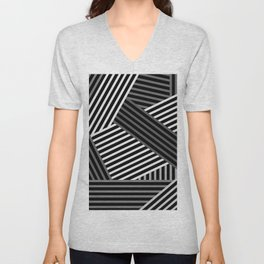 White gray striped abstract pattern 1 Unisex V-Neck