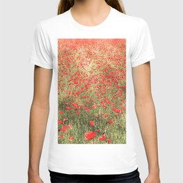Summer, beautiful field of red poppies T-shirt