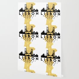 LISBON PORTUGAL SILHOUETTE SKYLINE MAP ART Wallpaper