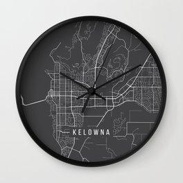 Kelowna Map, Canada - Gray Wall Clock