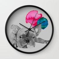 french bulldog Wall Clocks featuring French Bulldog  by Olivia James