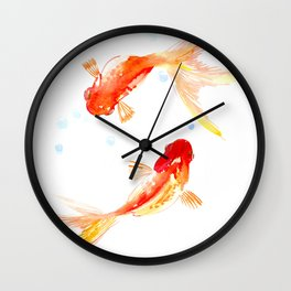 Goldfish, Two Koi Fish, Feng Shui, yoga Asian meditation design Wall Clock