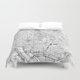 Washington D.C. White Map Duvet Cover
