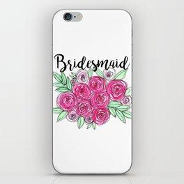 Bridesmaid Wedding Pink Roses Watercolor iPhone Skin