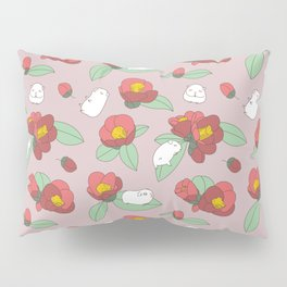 Japanese Camellia and Albino Guinea Pig Pattern Pillow Sham