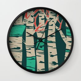 Whimsical birch forest landscape wall art Wall Clock