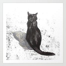 black cat shadow Art Print