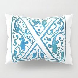 Letter X Elegant Vintage Floral Letterpress Monogram Pillow Sham