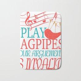Bagpipe Music Gift Scotland Scots Scotland Bath Mat