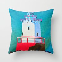 lighthouse Throw Pillows featuring Lighthouse by Judy Palkimas