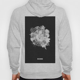 Rome, Italy Black and White Skyround / Skyline Watercolor Painting (Inverted Version) Hoody