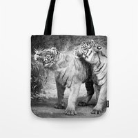 tigers Tote Bags featuring little tigers by Bunny Noir