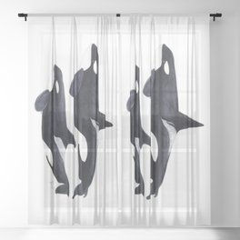 Orca male and female Sheer Curtain