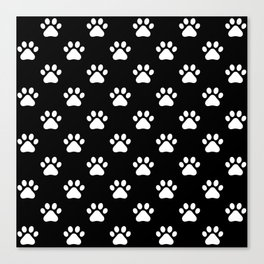 paw print black and white pattern Canvas Print