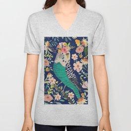Parakeet with Floral Crown Unisex V-Neck