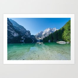 The Seekofel mountain reflected in the clear waters of Lake Braies Art Print