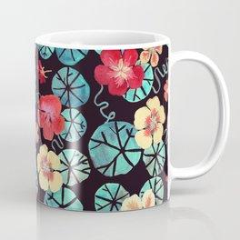 Watercolor Nasturtiums. Dark Floral Coffee Mug