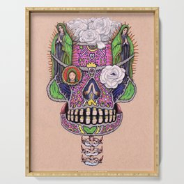 Our Lady of Guadalupe Skull Mask Serving Tray