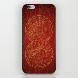Antique Navigation World Map in Red and Gold iPhone Skin