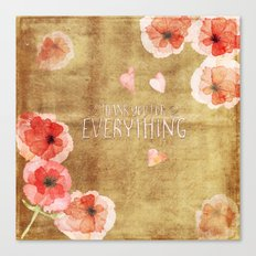 Thank you for everything- Vintage  Flowers Roses floral Illustration Canvas Print