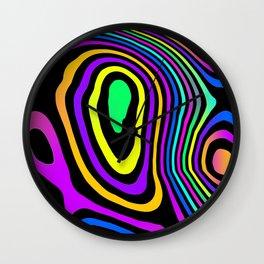 Neon Grains on Black Wall Clock