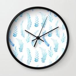 Trendy modern aqua blue watercolor floral leaves pattern Wall Clock