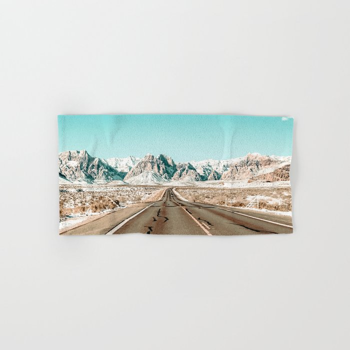 Vintage Desert Road // Winter Storm Red Rock Canyon Las Vegas Nature Scenery View Hand & Bath Towel