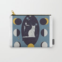 Kitty Ascension Moon Phase in Muted Blue Carry-All Pouch
