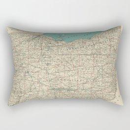 Vintage Map of Ohio (1887) Rectangular Pillow
