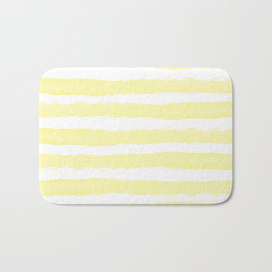 Sunny Yellow Handdrawn horizontal Beach Stripes - Mix and Match with Simplicity of Life Bath Mat