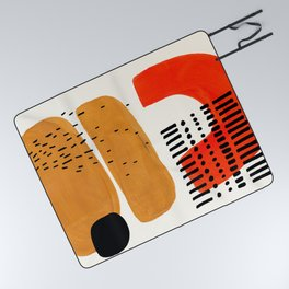 Mid Century Modern Abstract Minimalist Retro Vintage Style Fun Playful Ochre Yellow Ochre Orange  Picnic Blanket