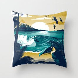 Costa Rica Vintage Travel Poster Throw Pillow