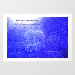 """""""Lily Of The Nile"""" with poem: In The Rain Art Print"""