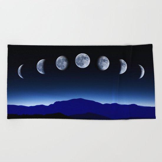 Moon Phases #blue Beach Towel