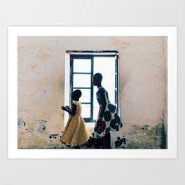 Girls Dance in First Slave Castle in Sub-Saharan Africa (Elmina Castle) Art Print
