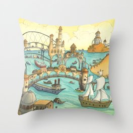 Ship City Throw Pillow