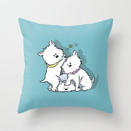 Westie's Chasing a Bee Throw Pillow