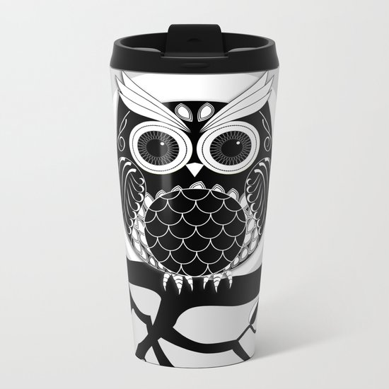 Graphic vector owl on branch in B&W Metal Travel Mug