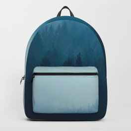 Misty Turquoise Blue Pine Forest Foggy Ombre Monochrome Trees Landscape Backpack