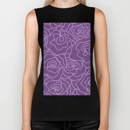 Lavender Dreams Roses - Dark with Light Outline - Color Therapy Biker Tank