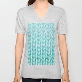 Handpainted Chevron pattern - small - light green and aqua teal Unisex V-Neck