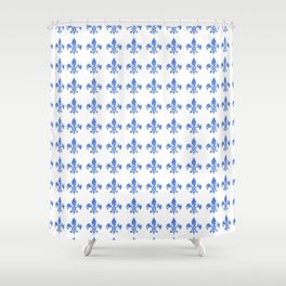 French Blue fleur di li Shower Curtain