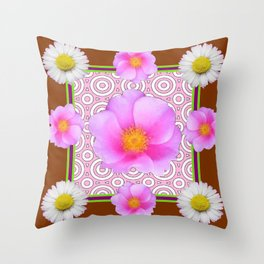 Coffee Brown Shasta Daisy Pink Roses Abstract Art Throw Pillow