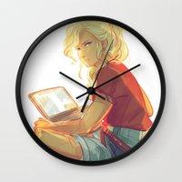 viria Wall Clocks featuring wise girl by viria