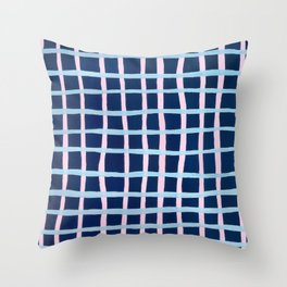 Pink and Blue Grid Throw Pillow